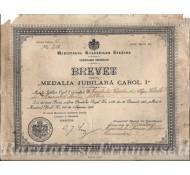 BREVET PENTRU MEDALIA JUBILIARA CAROL I